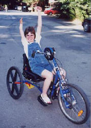 Our charitable organization provides adaptive equipment like this hand bike to disabled children and nursing home residents.